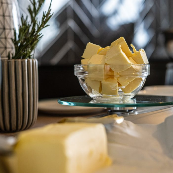 cubed butter in a kitchen
