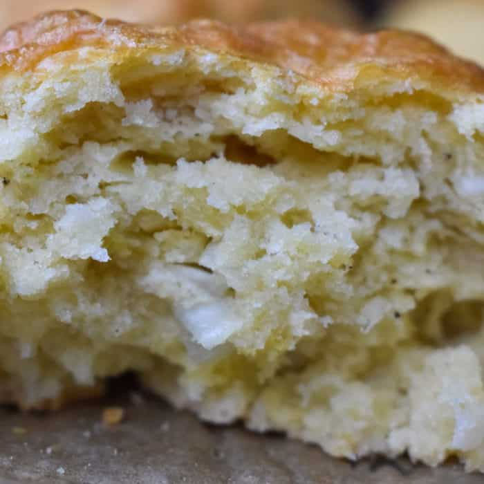 Half of a cheese and onion scone