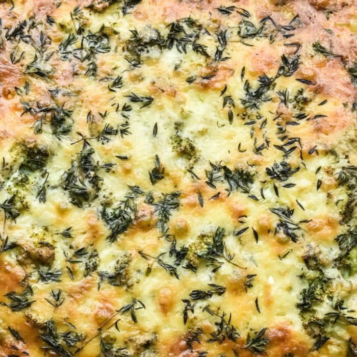 Crustless Winter Vegetable Quiche in a glass pyrex bowl