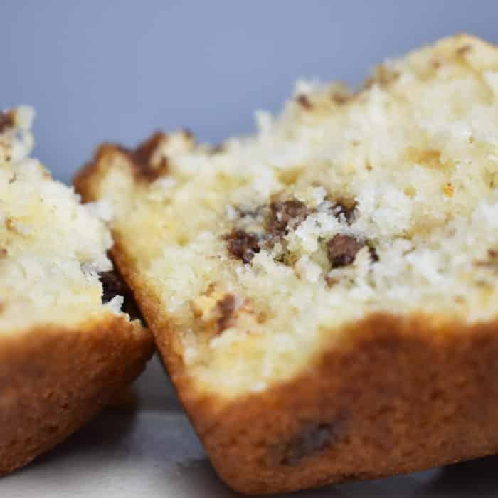 Chocolate Chip muffins cut in half