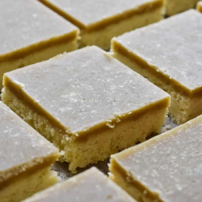 Ginger slice on baking paper