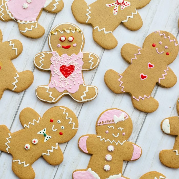 gingerbread cookies on a wooden surface